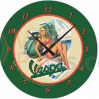 Wandklok Vespa pin up groen