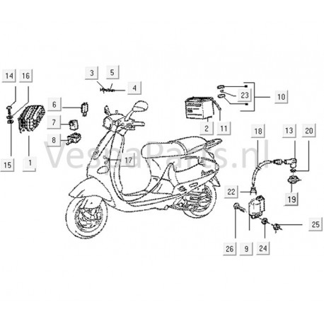 08: Houder Richtingaanwijzer Vespa ET/LX/LS