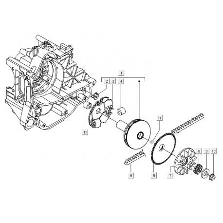 01: Koppeling Av. C14-C18-C22-C26-C27-C28 aandrijfpoelie Vespa E