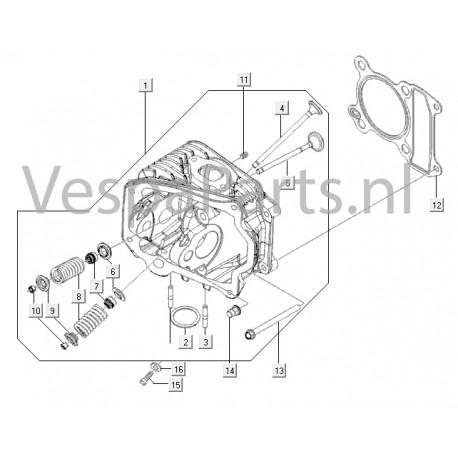 05: Uitlaatklep C25/4t-C26-C28 Vespa ET4/LX/LXV/S