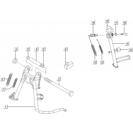 14: Zijstandaardbout C14-M07-M08 Vespa LX/LXV/S