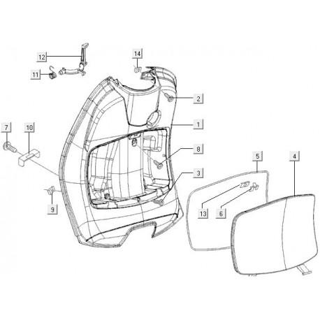 05: Beenschilddeksel/Handschoenkastje rubber Vespa ET2/ET4/LX/LX