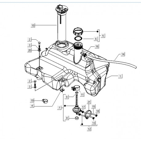 14: Benzinetank Vespa ET2/ET4/LX/LXV/S