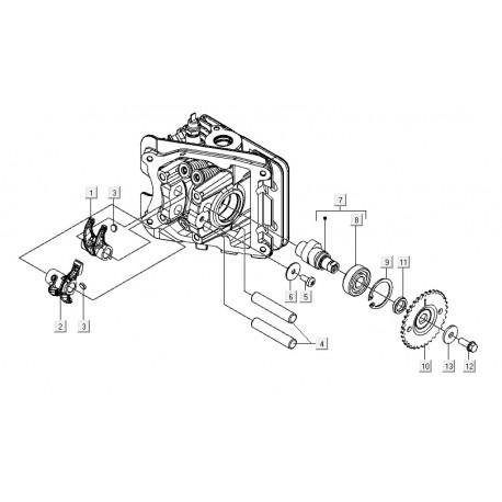 08: Nokkenaslager C26-C25/4t-C28 Vespa ET4/LX/LXV/S