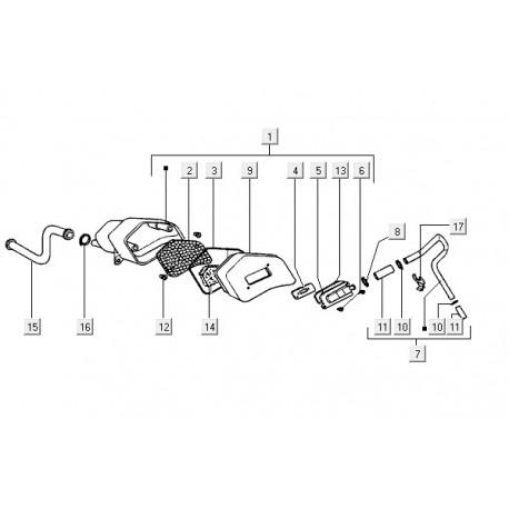 11: Luchtfilterslangset C25<>C34 Vespa ET2/LX/LXV/S