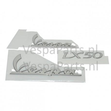 Emblemen set alu stickers Vespa LX