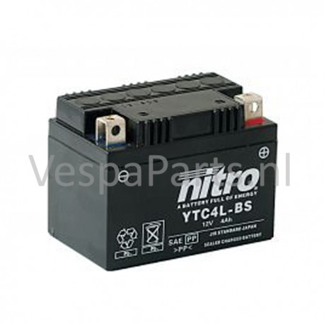 Nitro YTC4L-BS Gel Accu 12V 4Ah Vespa universeel