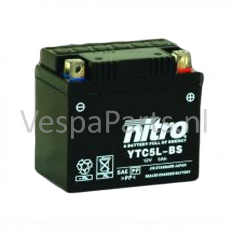 Nitro YTC5L-BS Gel Accu 12V 5Ah Vespa ET2/PK50