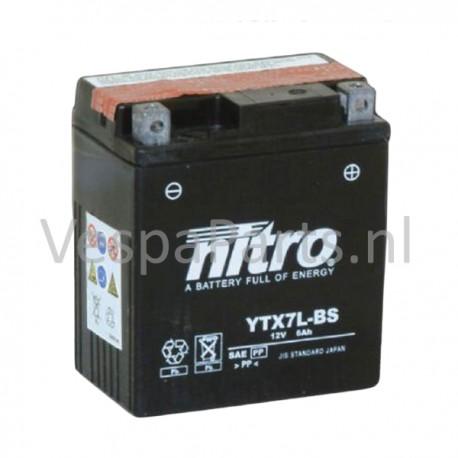 Nitro YTX7L-BS onderhoudsvrije Accu 12V 6Ah Vespa