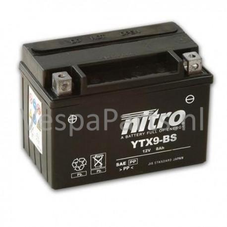 Nitro YTX9-BS onderhoudsvrije Accu 12V 8Ah Vespa ET4/GTS125