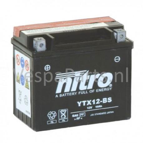 Nitro YTX12-BS onderhoudsvrije Accu 12V 10Ah Vespa GTV/LX/LXV/94