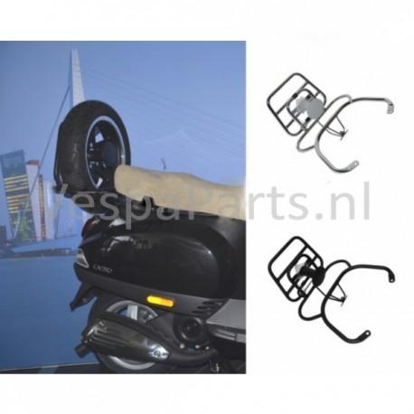 Achterdrager opklapbaar met Reservewiel Vespa LX/LXV/S mat zwart