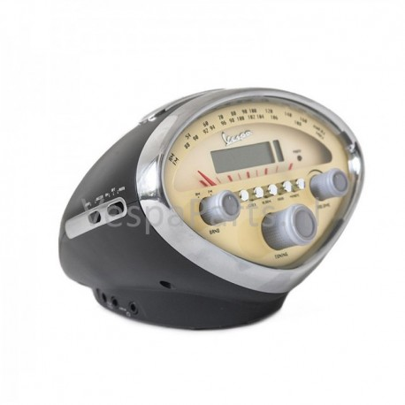 Radio Alarmklok/Wekker Vespa matzwart snelheidsmeter