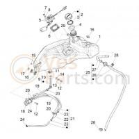 16. plaatwerkmoer Benzinetank Vespa Primavera/Sprint