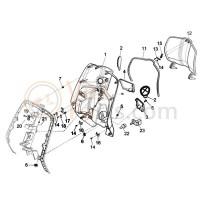 16: Slotplaat beenschilddeksel Vespa Primavera/Sprint/ Gts300/LX