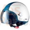 """Vespa Helm """"Copter-Y"""" wit Parelmoer / blauw"""
