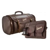 Set: bagagetas Classic 35 liter en klein praktisch tasje midden scooter, donkerbruin, kunstleer