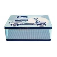 Vespa koekblik/opbergblik horizontaal, Vespa box collection, blauwkleurig