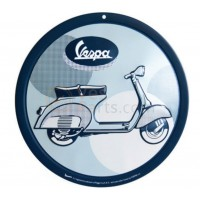 Vespa decoratie, Vespa box collection, tin plate rond, blauwkleurig