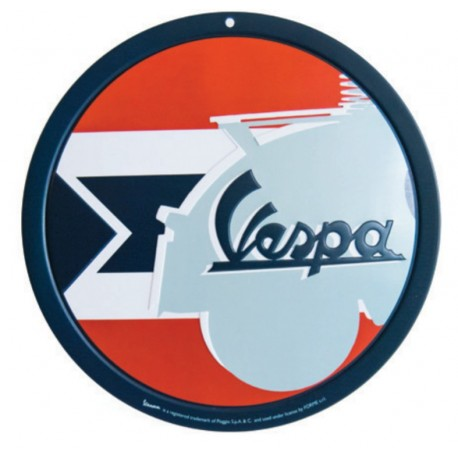 Vespa decoratie, Vespa box collection, tin plate rond, bruin/oranjekleurig