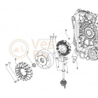03: Vliegwiel C01---C25-Nsl-Nsp-C36 Vespa ET2/LX/LXV/S/Primavera 50 2T/Sprint 50 2T