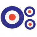 Vespa scooter sticker set Tricolore Holland France rond target