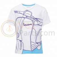 Vespa Young Kid T-shirt wit, blauw