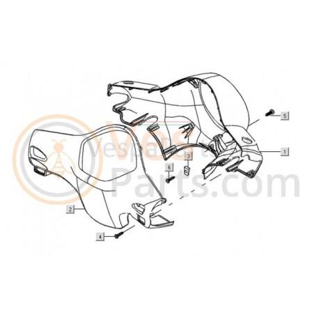 04: Stuurkap Achter Vespa LX spuitklaar (blank)