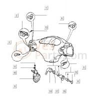 14: Electrisch gedeelte contactslot Vespa ET/LX/LXV/S