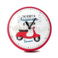 Wandklok Vespa Secret of Happiness rood