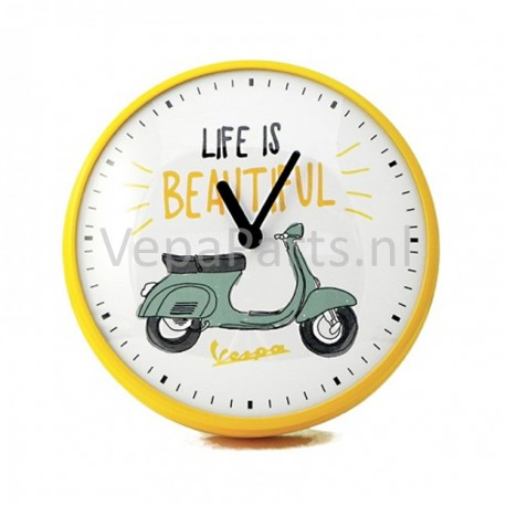 Wandklok Vespa Life is Beautiful geel