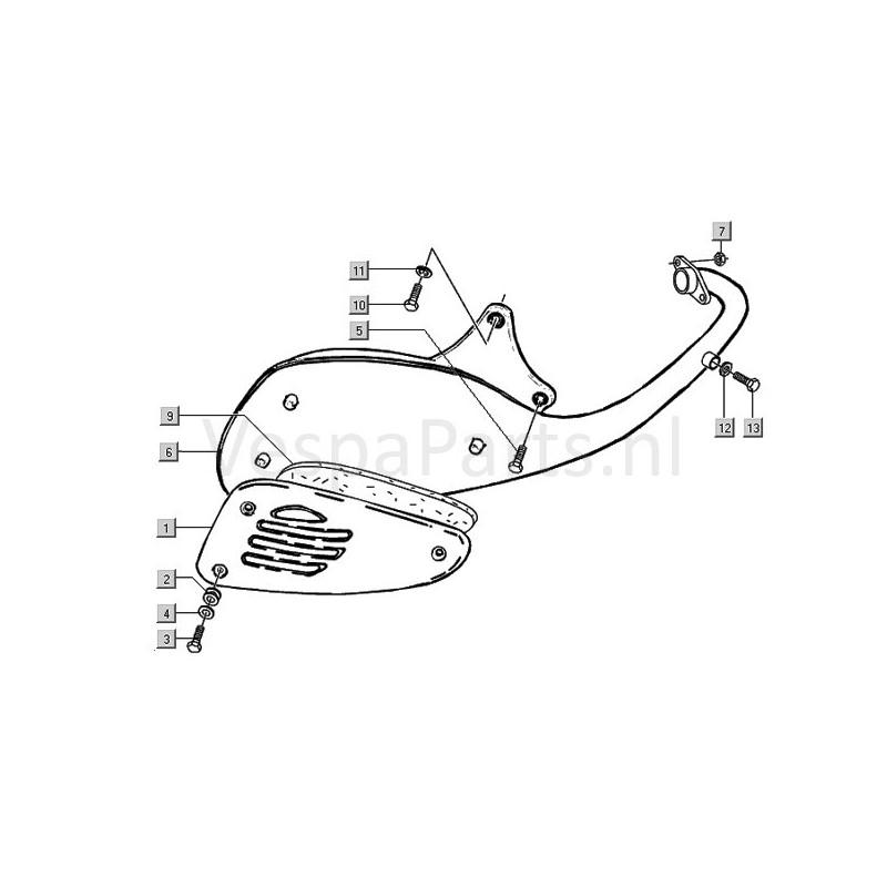 uitlaatdemper vespa et2 - ves-parts com