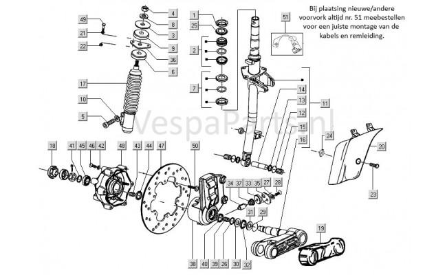Voorvork/wielophanging Vespa S