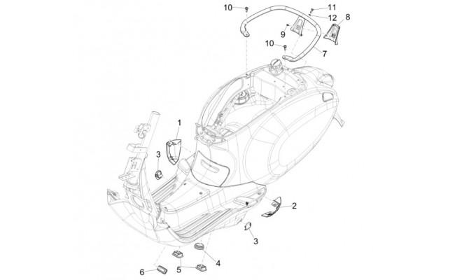 Motorscherm, Zijskirt, Spoiler Vespa Sprint 50 2T